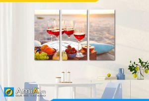 Hình ảnh Bộ tranh ly rượu vang trang trí tường phòng ăn nhà bếp ghép 3 tấm AmiA RV11