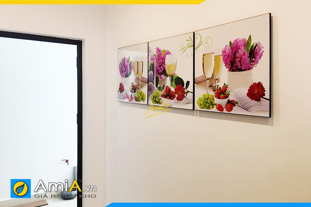 Hình ảnh Bộ tranh ly rượu vang và hoa trang trí bàn ăn đẹp AmiA 1649