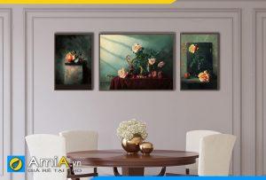Hình ảnh Bộ tranh phòng ăn bàn ăn phong cách tân cổ điển sang trọng AmiA BH12
