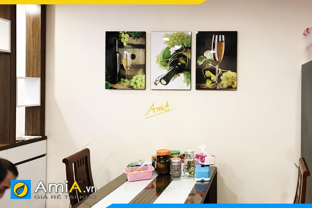 Hình ảnh Bộ tranh rượu vang đẹp sang trọng treo tường bàn ăn AmiA 1775