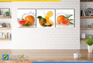 Hình ảnh Bộ tranh trái cây ngon hấp dẫn trang trí tường phòng ăn AmiA 465