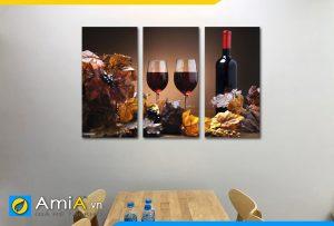 Hình ảnh Bộ tranh treo bàn ăn rượu vang đẹp hiện đại ghép 3 tấm AmiA RV13