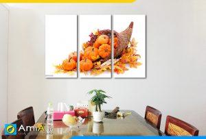 Hình ảnh Bộ tranh treo phòng ăn giỏ bí đỏ tươi ngon đẹp ý nghĩa AmiA PA41
