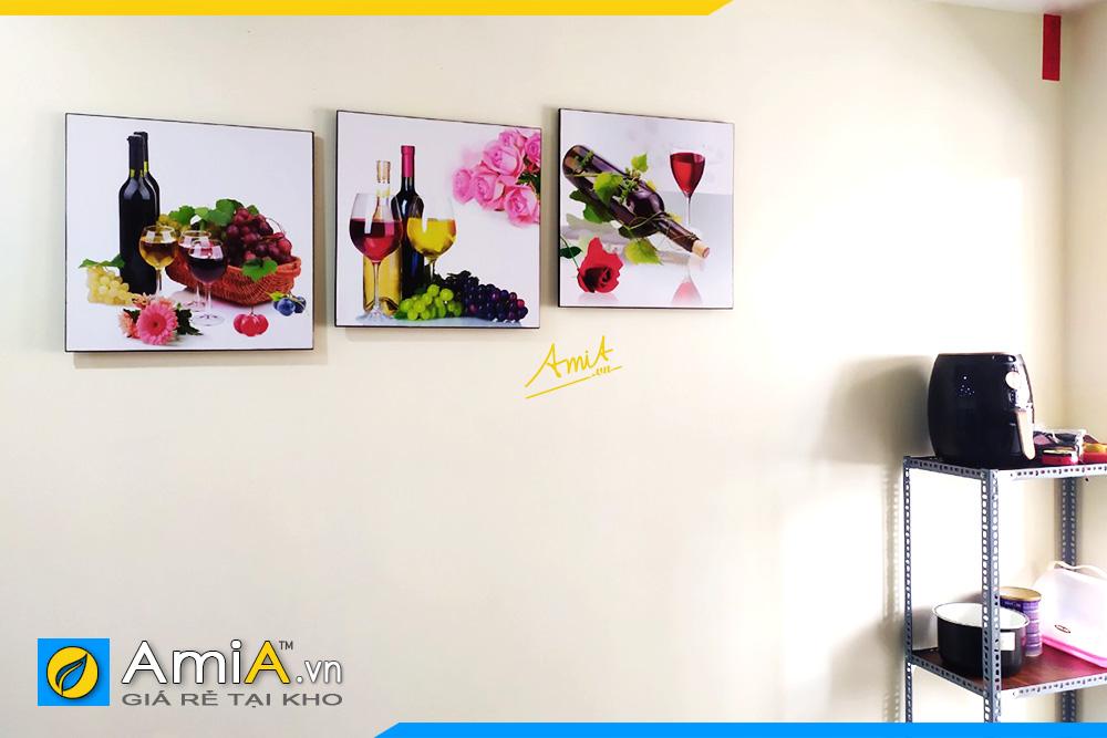 Hình ảnh Bộ tranh treo tường phòng ăn nhà bếp bàn ăn rượu vang hoa hồng lãng mạn AmiA 1541