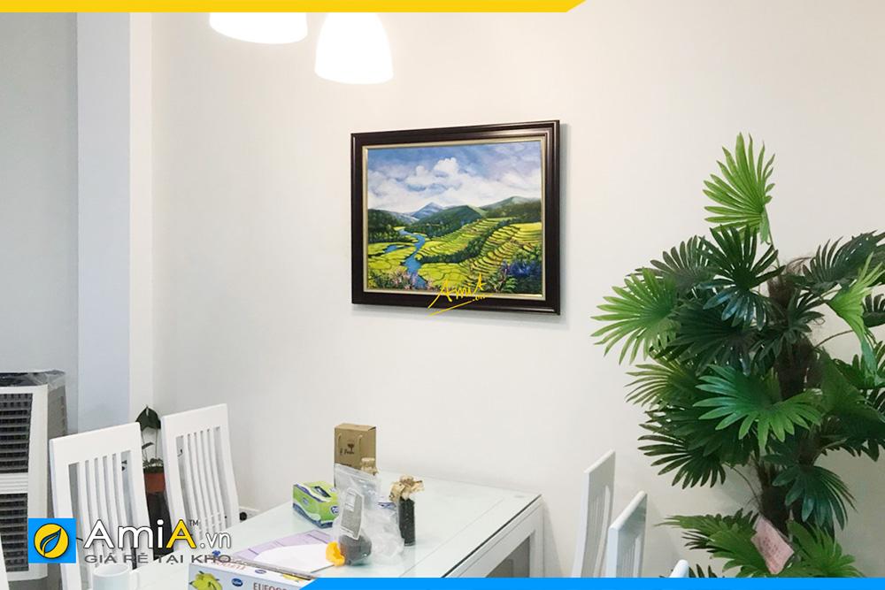 Hình ảnh Bức tranh vẽ sơn dầu phong cảnh ruộng bậc thang treo phòng ăn AmiA TSD 396