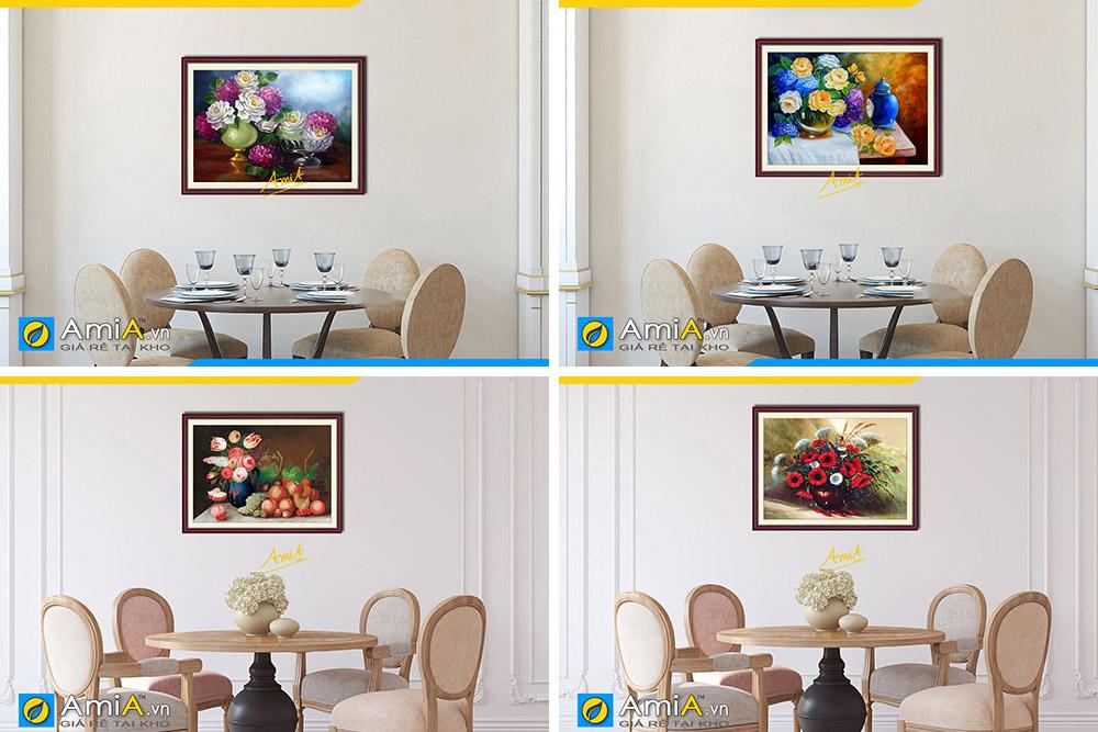 Hình ảnh Các mẫu tranh bình hoa cổ điển tĩnh vật treo tường phòng ăn bàn ăn