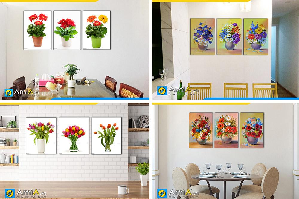Hình ảnh Các mẫu tranh bình hoa đẹp ghép bộ 3 tấm treo tường phòng ăn bàn ăn
