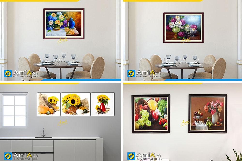 Hình ảnh Các mẫu tranh bình hoa đẹp ý nghĩa phong thủy treo bàn ăn nhà bếp