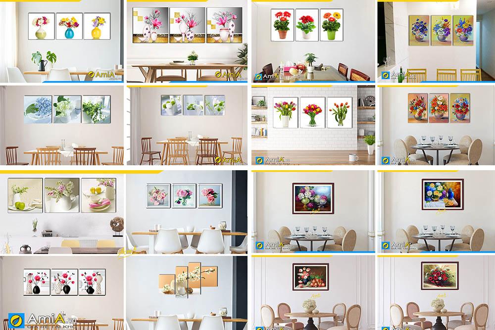 Hình ảnh Các mẫu tranh bình hoa treo tường phòng ăn nhà bếp đẹp xinh