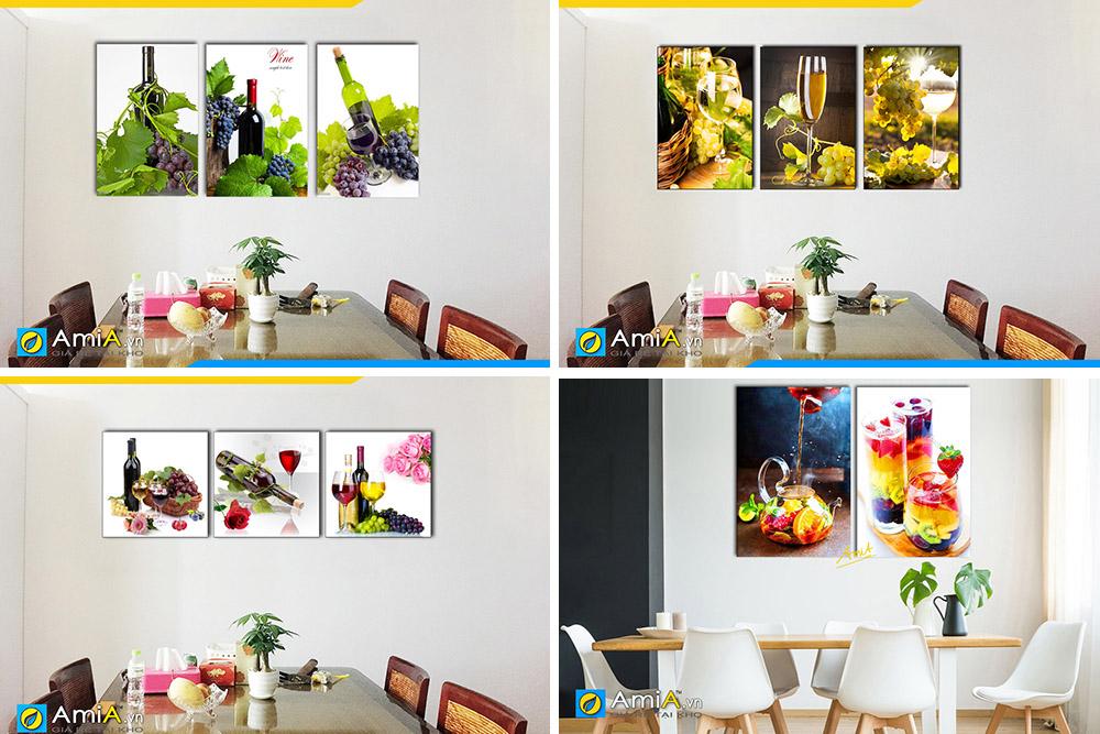 Hình ảnh Các mẫu tranh đồ uống rượu vang treo tường phòng ăn bàn ăn
