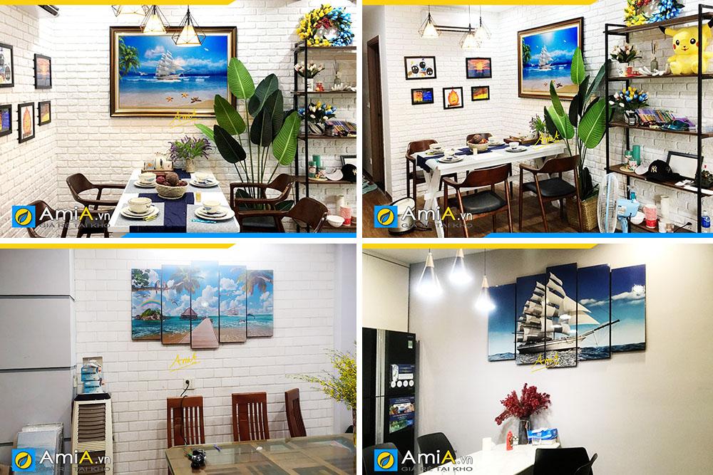 Hình ảnh Các mẫu tranh thuyền buồm phong cảnh biển treo bàn ăn đẹp