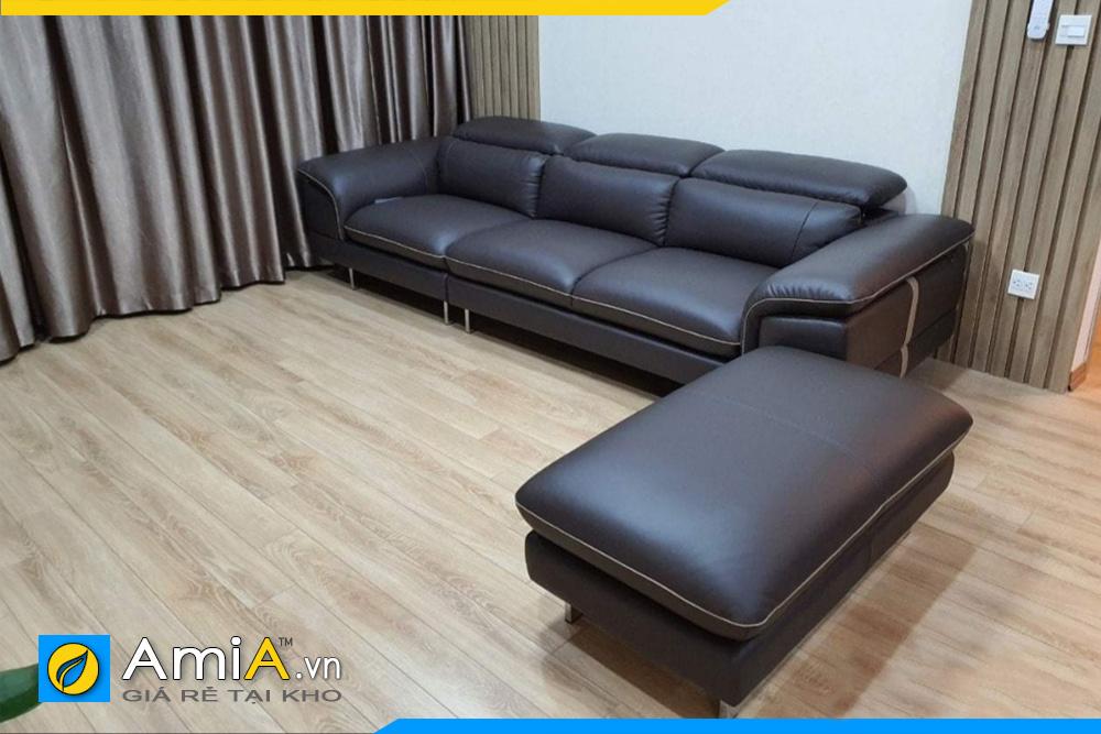 Ghế sofa da màu đen đẹp kê phòng khách