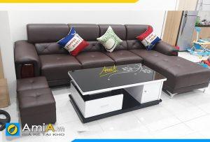Ghế sofa da góc L tay vịn ốp gỗ đẹp AmiA193