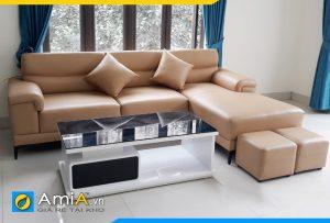 Ghế sofa da phòng khách màu nâu sáng AmiA282
