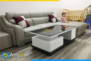 Mẫu sofa da đẹp tay vịn độc đáo AmiA356