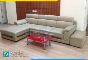 Ghế sofa da AmiA123 góc chữ L bọc da công nghiệp malay