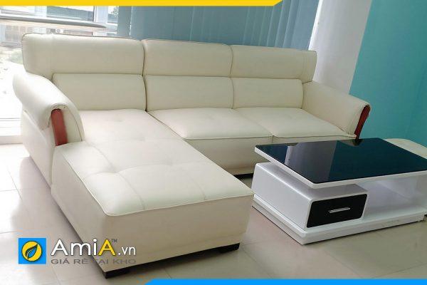Ghế sofa da góc chữ L amiA239 màu trắng đẹp