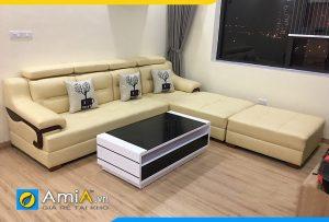 Ghế sofa da phòng khách rộng kiểu dáng chữ L AmiA268