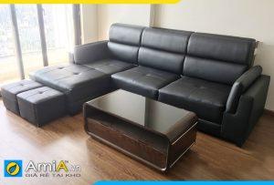 Ghế sofa góc chữ L 2 lớp tay vịn đẹp AmiA213