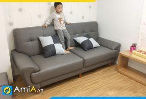 Ghế văng sofa da tay cuộn tròn AmiA227