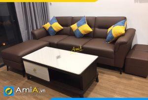 mẫu ghế sofa văng da kèm đôn cỡ lớn cho phòng khách chung cư