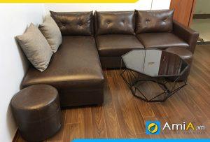 Ghế sofa góc chữ L màu nâu sang trọng AmiA190