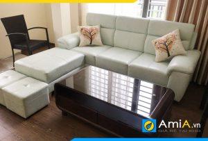Ghế sofa da dạng văng màu trắng cực đẹp và hiện đại AmiA253