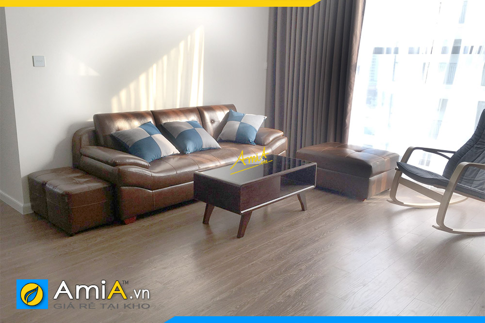 sofa da mau nau dang vang mini