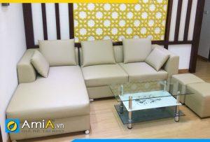 Ghế sofa da đơn giản kiểu dáng góc chữ L AmiA168