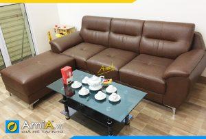 Ghế sofa da đẹp dạng văng AmiA303 cho phòng khách nhỏ