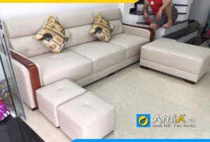 Ghế sofa da đẹp AmiA159 dạng văng nhỏ gọn