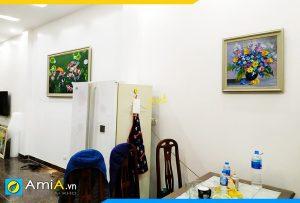 Hình ảnh Tranh 1 tấm treo tường phòng ăn phòng khách liền nhau