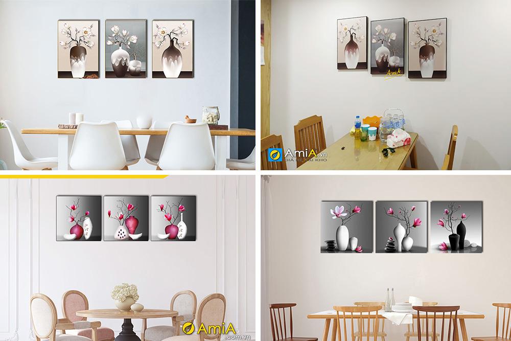 Hình ảnh Tranh bình hoa đẹp trang trí tường phòng ăn nhà bếp