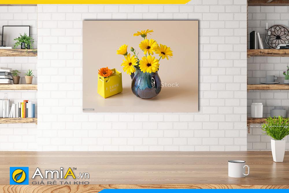 Hình ảnh Tranh bình hoa đồng tiền treo phòng ăn đặt làm theo yêu cầu 1 tấm AmiA BH09
