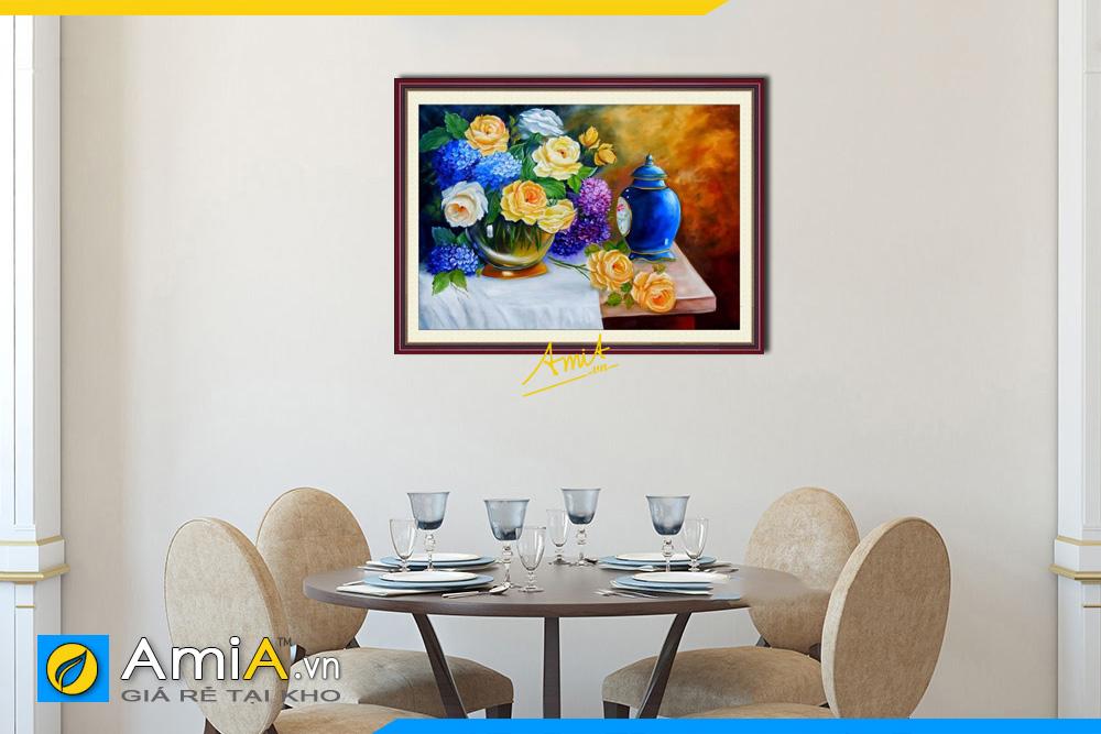 Hình ảnh Tranh bình hoa hồng hút tài lộc treo tường phòng ăn AmiA 727