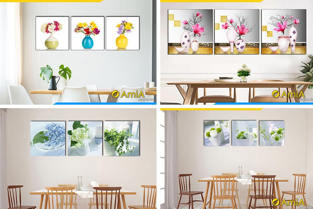 Hình ảnh Tranh bình hoa treo tường phòng ăn nhà bếp trang trí đẹp
