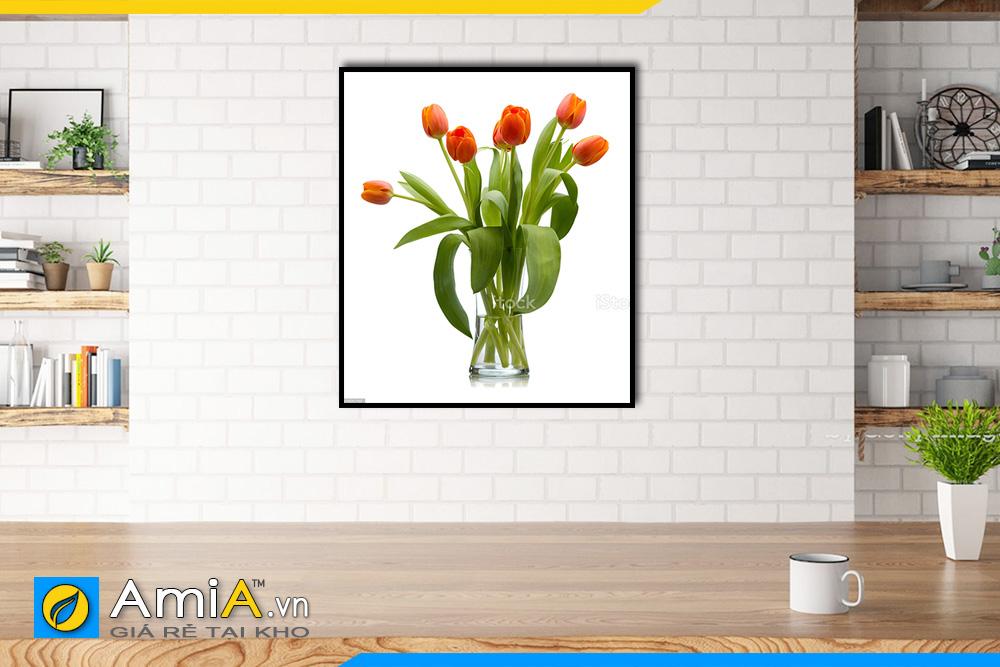 Hình ảnh Tranh bình hoa tulip 1 tấm làm theo yêu cầu AmiA BH04