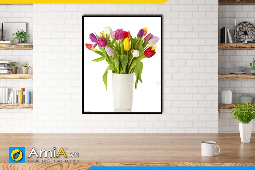 Hình ảnh Tranh bình hoa tulip treo phòng ăn nhà bếp AmiA BH04