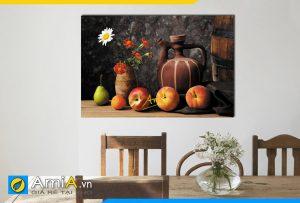 Hình ảnh Tranh bình hoa và quả tân cổ điển treo tường bàn ăn đẹp AmiA 628