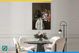 Hình ảnh Tranh bình và hoa quả phong cách tân cổ điển treo bàn ăn đẹp AmiA BH14