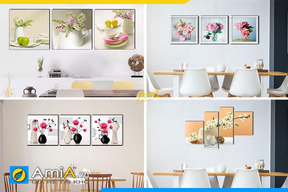Hình ảnh Tranh đẹp bình hoa treo tường phòng ăn bàn ăn hiện đại