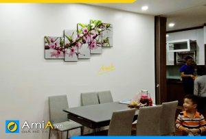 Hình ảnh Tranh đồng hồ hoa đào treo phòng ăn bàn ăn đẹp sang AmiA 262