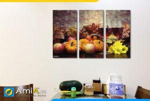 Hình ảnh Tranh hoa quả rượu vang ghép bộ 3 tấm treo phòng ăn AmiA PA43
