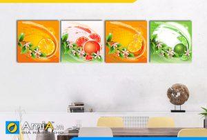 Hình ảnh Tranh phòng ăn 4 tấm hoa quả nhiều màu sắc đẹp AmiA 463