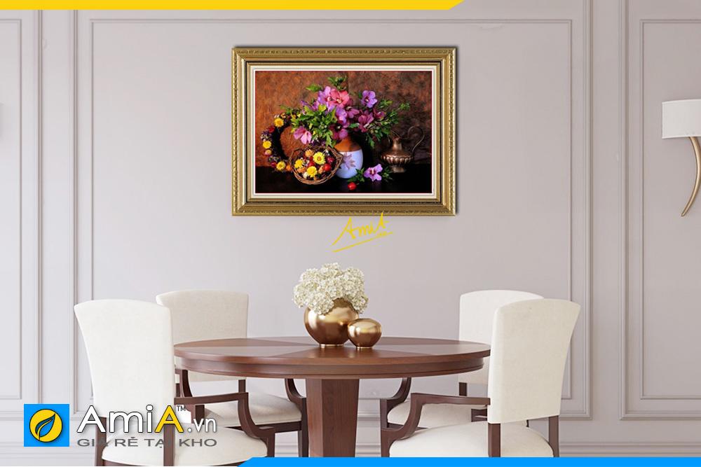 Hình ảnh Tranh phòng ăn bình hoa giỏ hoa phong cách cổ điển AmiA 566