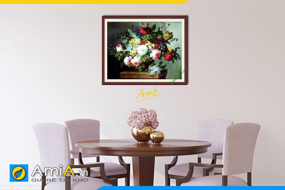 Hình ảnh Tranh phòng ăn nhà bếp đẹp bình hoa hút tài chiêu lộc AmiA 742