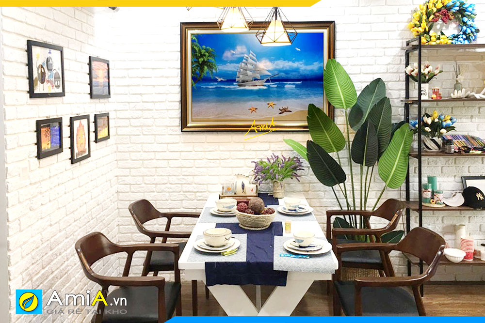 Hình ảnh Tranh phong cảnh biển thuận buồm xuôi gió treo bàn ăn đẹp AmiA 1600