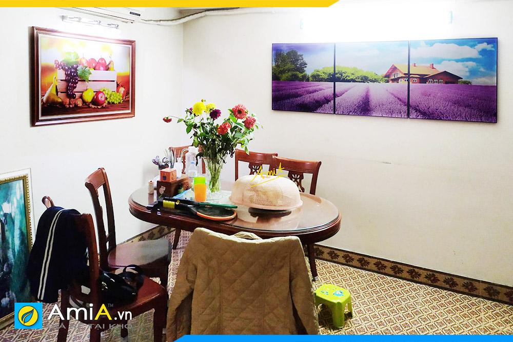 Hình ảnh Tranh phong cảnh cánh đông hoa oải hương treo phòng ăn bàn ăn AmiA 3050