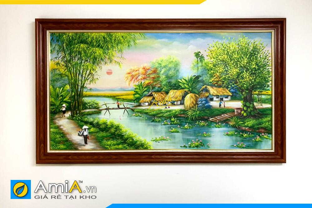 Hình ảnh Tranh phong cảnh làng quê Việt Nam vẽ sơn dầu treo phòng ăn AmiA TSD 552