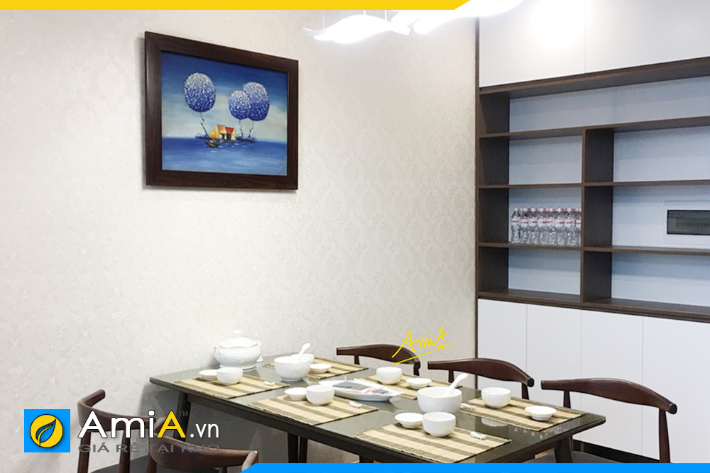 Hình ảnh Tranh phong cảnh vẽ sơn dầu khổ nhỏ treo phòng ăn nhà bếp